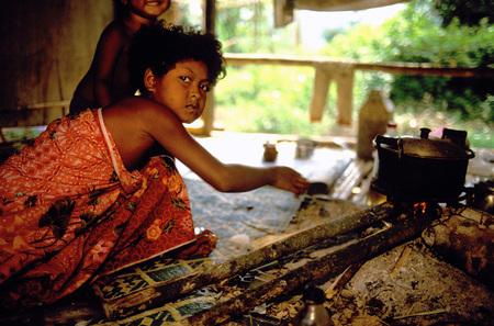 jah: Orang Asli tribe in Taman Negara National Park in central Malaysia Children cooking.
