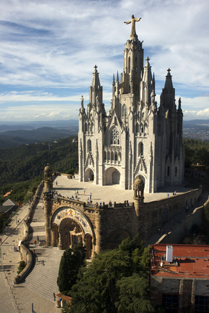 sagrat cor: The front entrance of Temple Expiatori del Sagrat Cor, Barcelona, Spain. Temple of the Sacred Heart. Church of the Sacred Heart of Jesus on summit of Mount Tibidabo in Barcelona, Catalonia, Spain