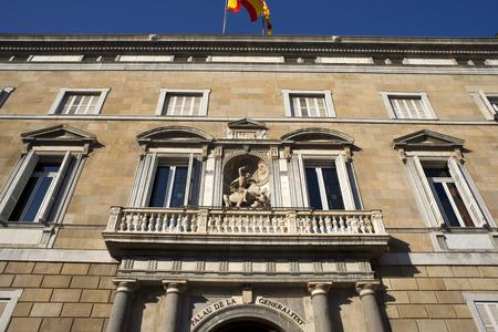 Palace of the Government of Catalonia (Palau de la Generalitat de Catalunya) at Sant Jaume Square, Gothic Quarter, Barcelona, Catalonia, Spain.