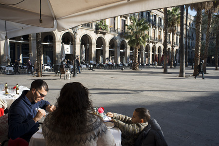 gotico: Reastaurants in Plaza Real or Plaza Real, Barrio Gotico, Barcelona, Catalonia, Spain