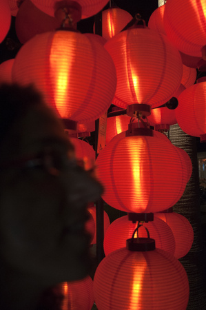 laterns: Lanterns at New Buddha Tooth Relic Temple and Museum, Chinatown, Singapore Stock Photo