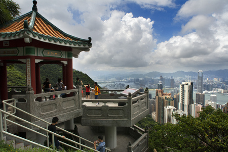 Tourists enjoy the views from the Sky Terrace on the  from Victoria Peak Tower. Hong Kong, China, SAR Editorial