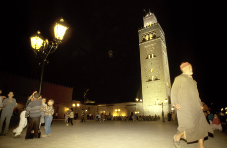 12th century: Koutoubia Mosque minaret at night, Marrakech, Morocco, North Africa, Africa Editorial