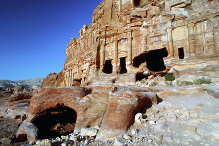 scenary: The Corinthian tomb and the Palace tomb which are part the Royal Tombs, Petra, Jordan.