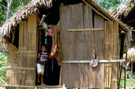 Orang Asli tribe in Taman Negara National Park in central Malaysia. Typical hutsin the village.