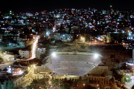 pius: Roman amphitheatre in Amman at night, Jordan. 2nd century AD Antonius Pius. Editorial