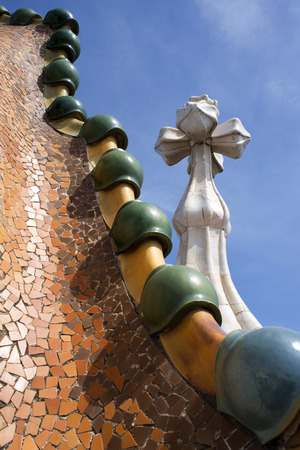 Antoni Gaudi Casa Batllo, Barcelona, Catalonia, Spain. Sant Jordi (Saint George) is the Patron Saint of Catalonia all is full of roses.