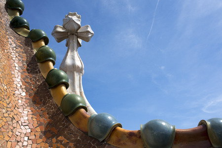 Antoni Gaudi Casa Batllo, Barcelona, Catalonia, Spain. Sant Jordi (Saint George) is the Patron Saint of Catalonia all is full of roses.