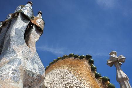 Antoni Gaudi Casa Batllo, UNESCO World Heritage Site, Barcelona, Catalonia, Spain. Sant Jordi (Saint George) is the Patron Saint of Catalonia all is full of roses.