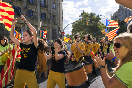 One million Catalans march for independence on September 11, 2017 in Barcelona center, Catalonia, Spain