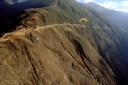Paragliding flight in Tierra Negra Merida Venezuela