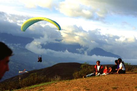 Paragliding flight in Tierra Negra Merida Venezuela