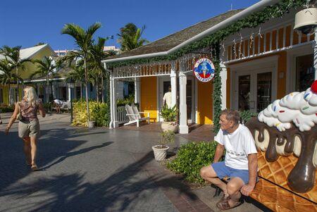 Luxury shops at Hotel Atlantis. Paradise Island, Nassau, New Providence Island, Bahamas, Caribbean. Panorama of Atlantis hotel and Paradise island. Editorial