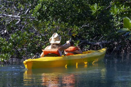 Grand Bahama, Bahamas. Exploring the Lucayan National Park in kayak. Grand Bahama Island, Old Freetown