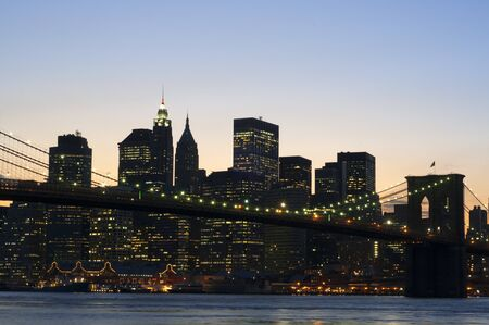 The Brooklyn Bridge at sunset New York City United States of America North America. Brooklyn Bridge, Manhattan, New York, USA.