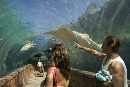 Aquarium glass tunnel to see predators. Hotel Atlantis. Paradise Island, Nassau, New Providence Island, Bahamas, Caribbean. Panorama of Atlantis hotel and Paradise island. Editorial