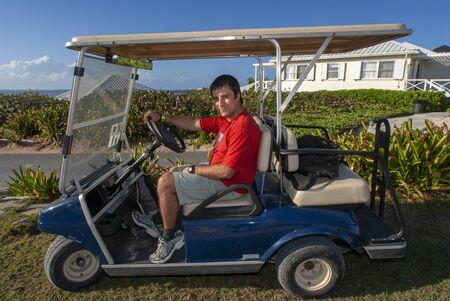 Golf car outside the Abaco Inn. Hope Town, Elbow Cay, Abacos. Bahamas Editorial