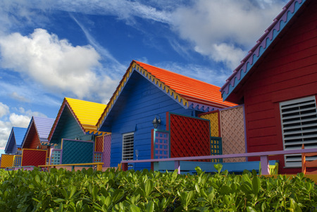 Hotel Compass Point Resort at Love beach Nassau, Bahamas, Caribbean. Brightly Colored Cottages At Compass Point Beach Club.