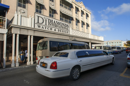 Limousine in Old town in Nassau next to a diamonds shop, Bahamas Editorial