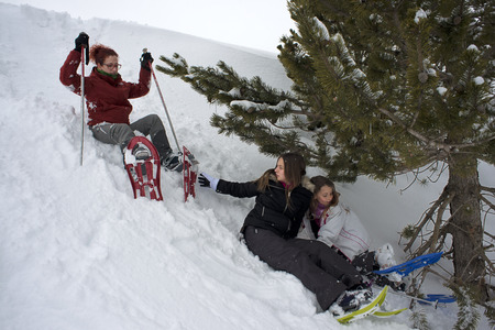Baqueira Beret, Ski resort, Pyrenees, Aran Valley, Lleida, Catalonia, Spain. Family walking with snow rackets towards the summit of a snowy hill.