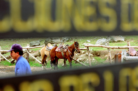 Horse ride in Laguna Mucubaji near Apartaderos in Merida Venezuela