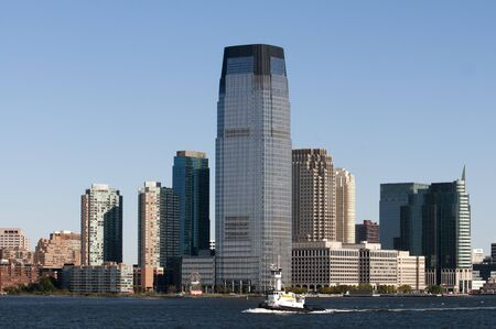 Waterfront downtown buildings in Jersey. Office buildings towers.