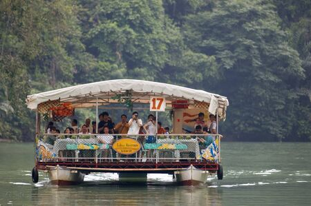 Boat trips on the Loboc river. Loboc Bohol. Pleasure boat on the River Loboc, Bohol, Philippines