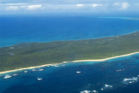 Aircraft flying over the island of Cat Island. The Cat island seen from a small plane flighting to Cat island Bahamas