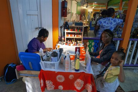 Nails shop in Festival Place in Nassau Bahamas Editorial