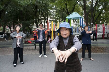 Chinese people practice Tai Chi in Seward Park in the newly trendy Lower East Side Chinatown neighborhood in NYC, Manhattan, New York, USA Redactioneel