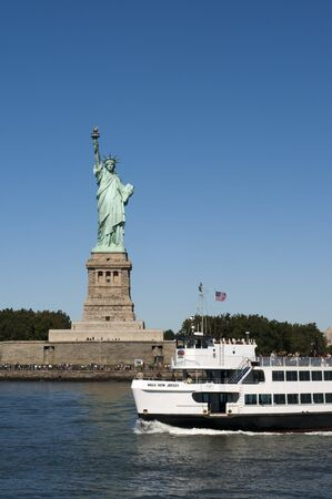 Boats going to the statue of Liberty, Liberty Island, New York City, New York.