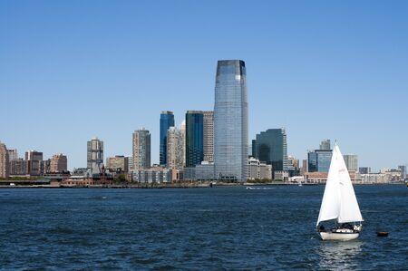 Skyline of New Jersey, financial districk, New York city, USA.