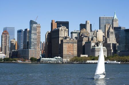 Sailing in Hudson River, Skyline of Lower Manhattan, financial districk, New York city, USA.