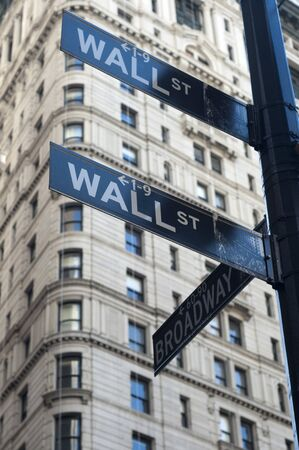 Wall Street sign in front of the New York Stock Exchange (NYSE), Wall Street, Financial District, NYC, New York City