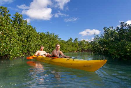 Grand Bahama, Bahamas. Exploring the Lucayan National Park in kayak. Grand Bahama Island, Old Freetown