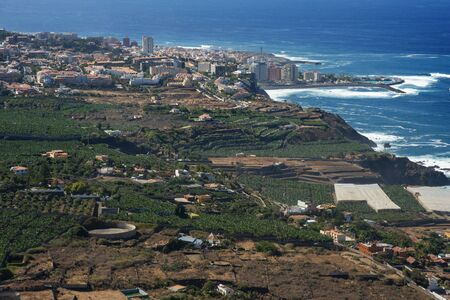 Vineyards and fields for cultivation and tillage in La Orotava and Puerto de la Cruz in Tenerife Island in Canary Islands Spain Stock Photo
