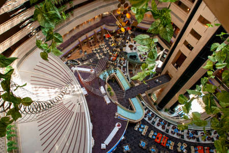 Inside Marina Square, Singapore. Raffles Avenue Entrance. Marina Mandarin Oriental Hotel in background