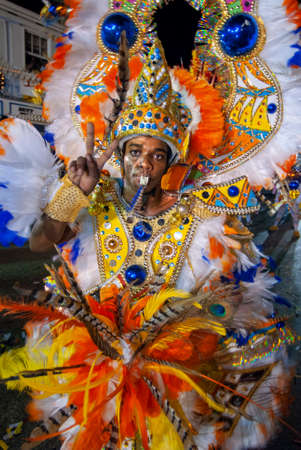 Carnaval del Junkanoo. Bay Street, Nassau, New Providence Island, Bahamas, Caribbean. New Year's Day Parade. Boxing Day. Costumed dancers celebrate the New Year with the Junkanoo Parade on January 1.