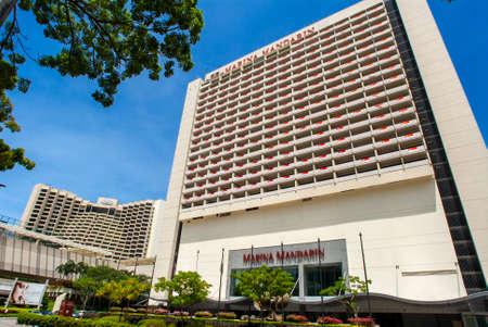 Marina Square, Singapore. Raffles Avenue Entrance. Marina Mandarin Oriental Hotel in background