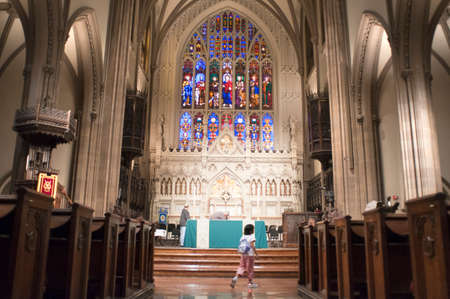 Inside Trinity Church at the head of Wall Street in Lower Manhattan was designed in the neo-Gothic style by Richard Upjohn Editorial