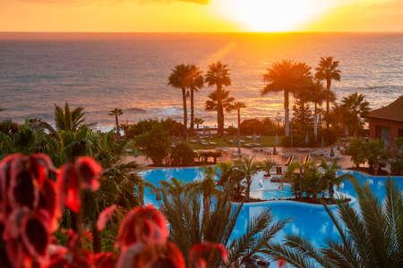 Pool and beach of Sheraton La Caleta Resort & Spa Costa Adeje Tenerife Island, Canary Islands, Spain