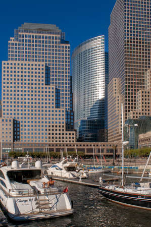 Marina, battery park area, world financial center and skyscrapers, financial district, Manhattan, New York, Usa, America. World Financial Center office buildings in the financial district of Manhattan. Brookfield Place North Cove Marina and Sailing Club,  Editorial