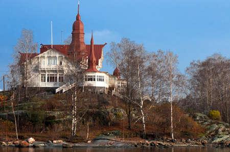 Töölönlahti bay, central Helsinki, Finland, Europe. Some of the houses surrounding Töölönlahti Bay. The park around Töölönlahti Bay begins in the heart of Helsinki Finland