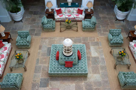 Garden lounge and Inner courtyard of Finca Cortesin hotel in Málaga Costa del sol Andalusia Spain