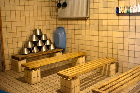 Helsinki. Arla Sauna, Finland, Europe. A public saunas ancient times left in the city; at the corner of an apartment block in the courtyard Kallio; Helsinki