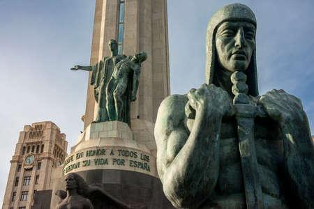 Warrior monument guanche sculpture, Monumento a los Caidos, Plaza de Espana, Santa Cruz de Tenerife, Tenerife island, Canary islands, Spain