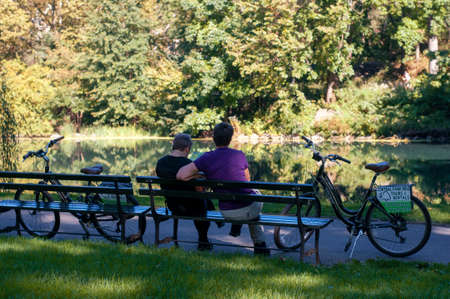 Cyclists in central park, New York City, United States of America Editorial