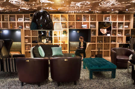 Lobby of the Hotel Scandic Paas Helsinki Finland. Editorial