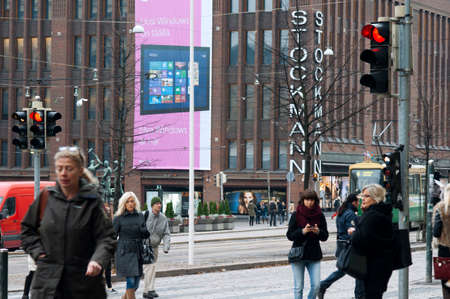 Helsinki city center with Stockmann department store and the tram Editorial