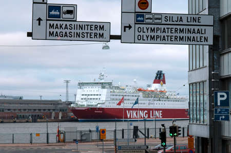 Ferry-boat of the Viking Line docked in Helsinki port, Helsinki, Finland, Europe